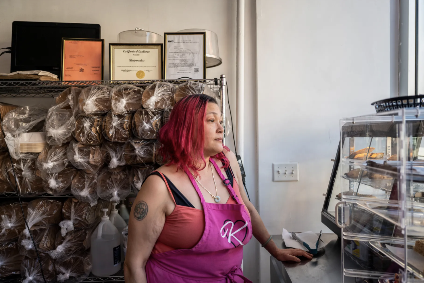 Kim Meyer waits for customers in her Cobble Hill restaurant, Kimpanadas, on 228 Smith St., May 14, 2021.